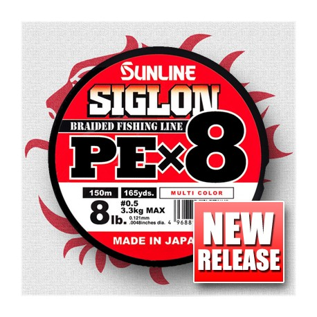 Sunline SIGLON PE x 8 0,3 5 lb 2,1 kg. 150 m. Mul. Col.