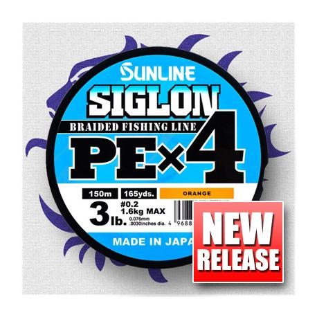 Sunline SIGLON PE x 4 1,2 20 lb 9,2 kg. 150 m. Orange