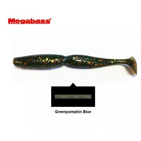 """Megabass Spindle Worm """"4"""" (Green Pumpkin Blue)"""