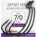JIGHEAD Offset Hook Heavy Class AT-21 Size 4/0 qty 3